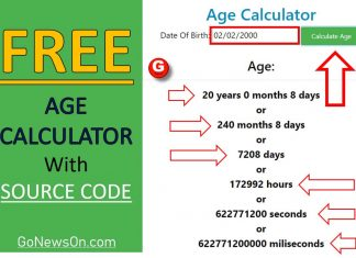 Calculate Age From Date Of Birth - www.GoNewsOn.com