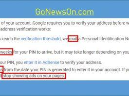 [How-To] Google Adsense PIN Verification - www.GoNewsOn.com