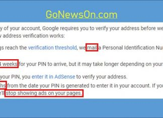 [How-To] Google Adsense PIN Verification - www.GoNewsOn.com
