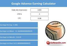 Google Adsense Earning Calculator
