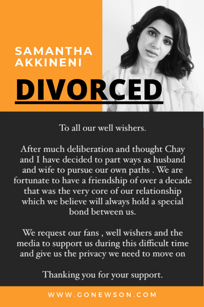 Samantha Akkineni Divorced with Naga Chaitanya